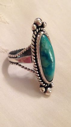Sterling Silver Genuine Turquoise Ring by CopperfoxGemsJewelry
