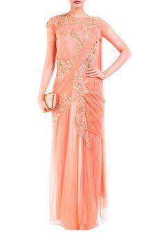 Light Orange Drape Gown Saree by Anju Agarwal, Ethnic Gowns #indowestern #ethnicwear #ethnic #fusion #western #wedding #shopping #weddingseason #online #bff #bestfriend #bffswedding #cocktail #sangeet #reception #dance #elegant