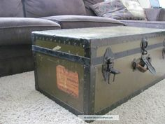 Wwii Usa Army Officer ' S Footlocker With Leather Handles Railroad Labels 1900-1950 photo ...