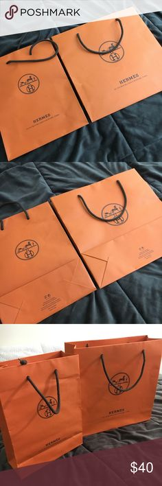 Hermes Shopping Bags Hermes shopping bags are still in great condition. Made with high quality, durable paper, it's perfect to use to regift Hermes products. These are authentic bags as they were used to bring back my purchases. Hermes Other
