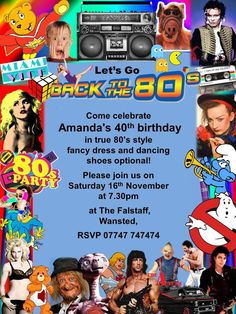 10x Fancy Dress Disco Birthday Invitations 80s Party Retro Theme Blue