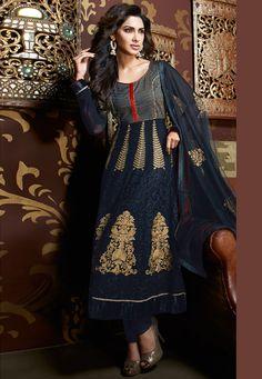 Buy Black Georgette Anarkali Churidar Kameez online, work: Embroidered, color: Black, usage: Party, category: Salwar Kameez, fabric: Net, price: $137.12, item code: KFS27, gender: women, brand: Utsav