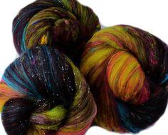 Nebula -- (4.2 oz. per set) merino wool, latte silk, alpaca, silk, sari silk, and sparkle. by hobbledehoy