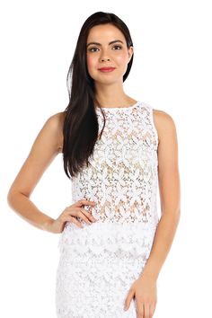 SOLID FLORAL CROCHET TOP -White