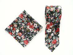 Black burgundy white floral tie pocket square wedding tie floral slim tie gift for men groomsmen uk by TheStyleHubTrends on Etsy