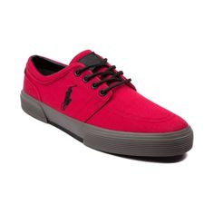 Shop for Mens Faxon Casual Shoe by Polo Ralph Lauren in Red at Journeys Shoes. Shop today for the hottest brands in mens shoes and womens shoes at Journeys.com.Sporty causal sneaker from Polo featuring a cotton canvas upper, sharp-look side stitched Polo logo, and refined leather lace-up. Also features a padded shock absorbing insole and treaded rubber outsole for durable, everyday comfort.