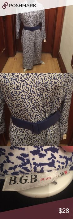 16W.  Gorgeous B.G.B.plus  business dress. Long sleeved blue print business dress.  Perfect for meetings or a business environment.  Very comfortable!  Includes matching belt. B.G.B. Plus Dresses Long Sleeve