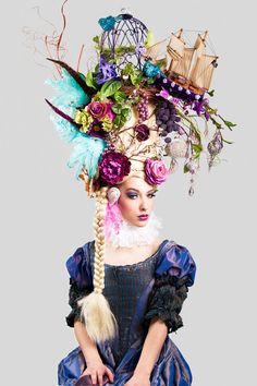 MADE TO ORDER Marie Antoinette butterfly bird cage sail boat headdress headpiece wig fantasy burlesque french baroque roccoco. $849.00, via Etsy. or you could rig something like this up yourself.