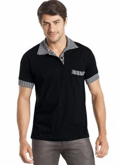 Camisa Polo Misael Com Bolso Manga Curta Malha Algodão Preta Camisa Polo 5de2f7c8213