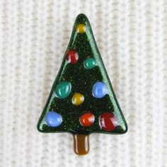 Handmade Fused Glass Christmas Tree Brooch with Baubles by