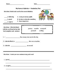 My Name is Gabriela- Comprehension & Vocabulary Test (Journeys) Book Review Template, My Name Is, Vocabulary Words, Comprehension, Sentences, Journey, Names, Learning, Fill