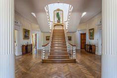 """""""The interior has a spectacular """"Gone with the Wind"""" staircase, and has enormous important architraves that date from the Regency era,"""" says Mr. Draycott. """"The brass doorhandles are bronze. There is parquet floor throughout, Corinthian columns, and pairs of fireplaces."""""""