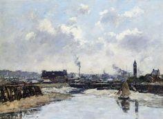 Trouville, the Port, Low Tide, Morning (Eugène-Louis Boudin - )