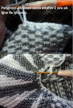 I wanted to share a bootie model with you, with the picture-making process. Crochet Blouse, Crochet Slippers, Crochet Lace, Knitting Videos, Knitting Stitches, Hand Knitting, Beach Crochet, Knitted Bags, Womens Scarves
