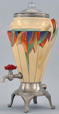 Art Déco - Service à Thé - Plaqué Chrome, Porcelaine et Bakélite - Fraunfelter pour Royal Rochester - 1923
