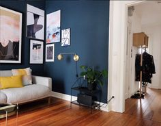 Love this wall color and corner gallery wall! Wall Paint Navy Blue Farrow and Ball Hague Blue Try corner gallery wall in Den? Navy Living Rooms, Blue Rooms, Living Room Paint, Living Room Decor, Blue Living Room Walls, Blue Wall Colors, Navy Blue Walls, Bleu Marine, Bedroom Wall