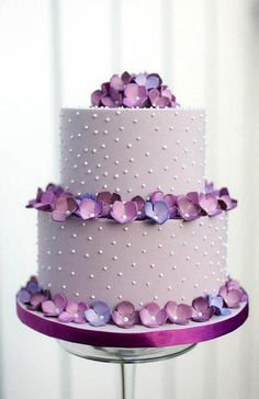 purple ombre flower and polka dot cake                                                                                                                                                      More