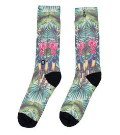 STANCE Mahalo Hawaiian socks All-over tropical scene print Elastic arch support Extra soft material Deep heel pocket Stretch for ultimate comfort