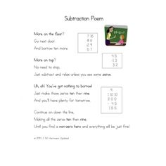 Subtraction Poem Poster ~ Steps for Regrouping Anchor Chart