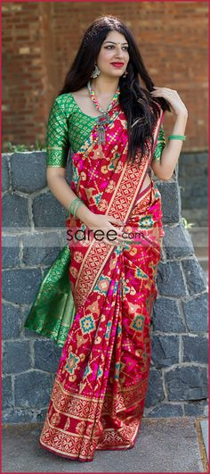 Cherry red saree with blouse. Paired with the matching blouse piece. Designer Silk Sarees, Designer Sarees Online, Art Silk Sarees, Banarasi Sarees, Indian Designer Wear, Bandhani Saree, Kanchipuram Saree, Ikkat Saree, Sari Blouse