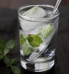 Freeze mint leaves to add interest to your ice cubes in any summer drink, especially Mojhitos... #icecubes #summerdrink #howto #recipes
