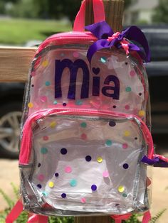 7842d8bc3a Clear backpack - personalized backpack - clear bookbag - monogrammed  backpack - backpack - girls backpack - boys backpack - back to school