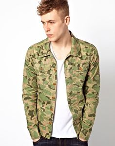 Scotch  Soda Jacket With Camo Print Worn and looks good with a plain colour top underneath Hat or chain could be added