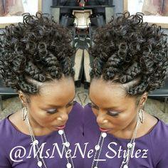 Braids with curl hair Braided Mohawk Hairstyles, Black Hair Updo Hairstyles, African Braids Hairstyles, Braids With Curls, Braids For Black Hair, Twist Styles, Braid Styles, Natural Hair Updo, Natural Hair Styles