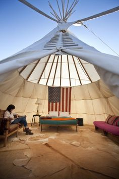 what a cozy teepee! | El Cosmico hotel in Marfa, TX