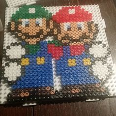 Luigi and Mario perler beads by shiibby