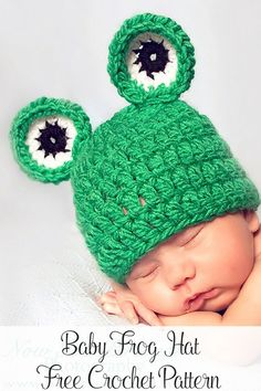 Free Crochet Pattern -- an adorable baby frog hat that can be cute for boys and girls! By Posh Patterns.