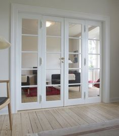 Living Room Remodel, Home Living Room, Narrow Closet Design, Home Room Design, House Design, Glass Partition Wall, Internal French Doors, Room Divider Doors, Patio Doors