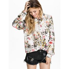 Grey Long Sleeve Floral Print Blouse found on Polyvore featuring polyvore, fashion, clothing, tops, blouses, grey, floral blouse, gray blouse, flower print blouse and long sleeve tops