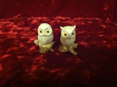 Lot of 2 White Miniature Snowy Owl Figure for Fairy Garden Doll House or Collect