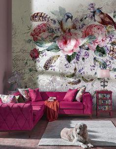 Wallpaper WonderWall studio. Bloom Wallpaper - Textured Vinyl Wallpaper on non-woven base. Washable. Removable. Safety&Eco | Mural, Flowers, Vintage, Summertime