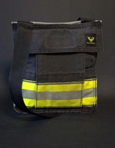 WANT! Bunker Gear Pocket Bag made from the pockets of decommissioned firefighter bunker gear.