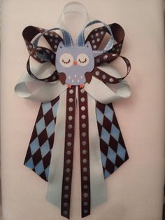 Brown and blue OWL baby shower pin/corsage by diapercake4less, $12.50
