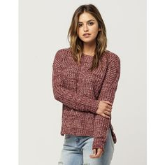 Full Tilt Essential Scoop Neck Womens Sweater (€23) ❤ liked on Polyvore featuring tops, sweaters, woven top, red scoop neck top, drop shoulder sweater, red long sleeve top and full tilt sweater