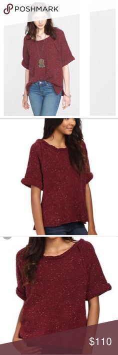 "NWOT Free People Sweater Tee Carefree and it shows, this go-to top in a mellow burgundy color is cozy and on-trend pairing perfectly with denim. 23"" bust. Wool/ nylon/ acrylic/ poly/ spandex ✅AVAILABLE 🚫TRADES 🚫HOLDS 💰SAVE 15% 3+ ITEMS 🆓 ITEMS  AVAILABLE Free People Tops"