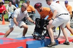 A Veteran demonstrates how Slalom is done at the 32nd National Veterans Wheelchair Games kickoff ceremony. It includes 17 different sports that promote rehabilitation through rigorous competition among Veterans. (Photo courtesy U.S. Department of Veterans Affairs.)