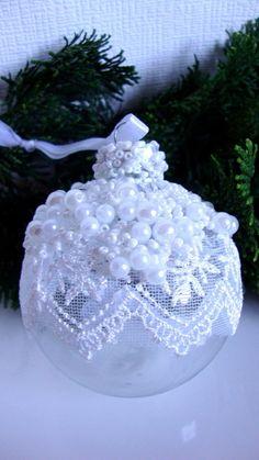 2 hochwertige Christbaumkugeln m.Perlen+ Spitze--Glas--weiß--7 cm--Baumschmuck | eBay