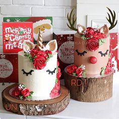62 Awesome Christmas Cake Decorating Ideas and Designs : Christmas cakes decorating easy; Christmas cake ideas and designs; Christmas Wedding Cakes, Christmas Tree Cake, Christmas Cake Decorations, Christmas Sweets, Christmas Cooking, Holiday Cakes, Holiday Treats, Christmas Unicorn, Christmas Birthday Cake