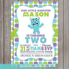 Monsters Inc Invitation  Monsters University  by BloomsDigital, $8.00