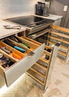 cajones organizadores de cocinas modernas