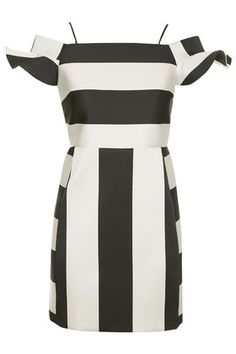 Satin Stripe Bardot Dress, perfect for black and white party