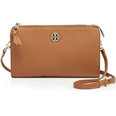 Tory Burch Crossbody ($225) ❤ liked on Polyvore featuring bags, handbags, shoulder bags, accessories, purses, bark brown, crossbody handbags, crossbody purse, tory burch and pebbled leather handbag