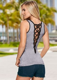 LACE UP BACK DETAIL TOP, CUT OFF JEAN SHORTS