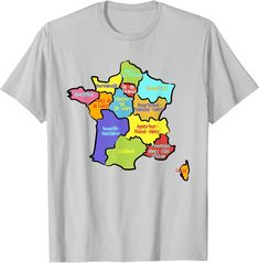 Amazon.com: Hand drawn France map, colorful Map of France with Regions T-Shirt: Clothing France Map, Rhone, Branded T Shirts, Hand Drawn, Fashion Brands, How To Draw Hands, Colorful, Amazon, Clothing