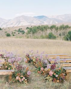 Colorful wildflower lined aisle paired with rustic wooden benches for an outdoor wedding ceremony in the mountains Wedding Ceremony Ideas, Outdoor Ceremony, Wedding Aisles, Wedding Backdrops, Wedding Ceremonies, Wedding Reception, Floral Wedding, Wedding Flowers, Fall Wedding