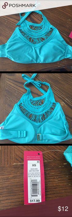 Turquoise High Neck Bikini Top, Size XS New with tags Xhiliration high neck bikini top! Really pretty turquoise color. Xhilaration Swim Bikinis